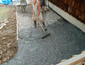 Pouring 3500 psi concrete for stamping