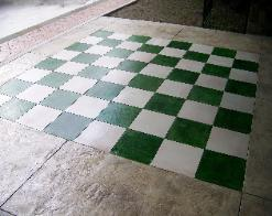 seamless concrete with color stained chess board